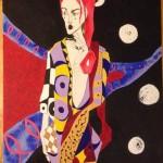 fertile fish with sperm kimono acrylic and graphite on canvas board 30x20inch (2015)